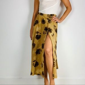Vintage 100% Silk Floral Button Down Midi Skirt